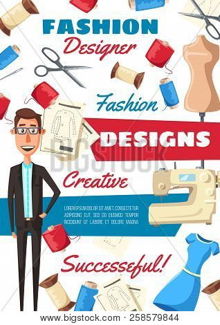 Fashion Designer Sewing Tools And Tailor Equipment Tailoring Workshop Or Atelier Studio With Dress 258579844 Image Stock Photo