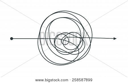 Complicated thinking process line icon design. Vector throught decision chaotic doodle circle drawing circles or thread clew knot isolated on white background stock photo