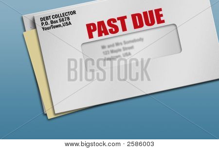 Several pieces of mail with one past due notice stock photo