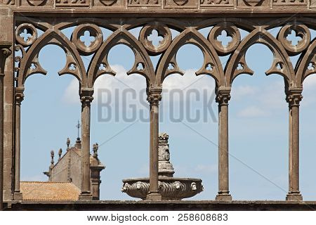 Gothic architectural detail in the ancient Papal Palace, Viterbo, Italy stock photo