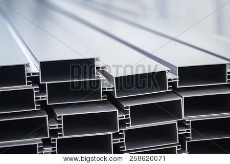 Aluminum profiles ready for shipment in factory.Industry concept. stock photo