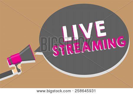 Word writing text Live Streaming. Business concept for Transmit live video coverage of an event over the Internet Man holding megaphone loudspeaker speech bubble message speaking loud. stock photo