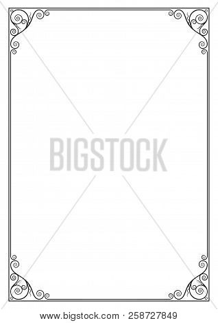 Decorative black rectangular frame for label, certificate, card. A3, A4 page proportions. stock photo