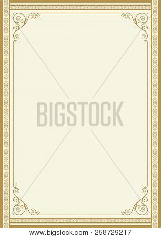 Decorative rectangular framework for label, certificate, card. A3, A4 page proportions. stock photo