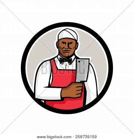 Mascot style illustration of a black African American butcher holding meat cleaver viewed from front set inside circle on isolated white background. stock photo