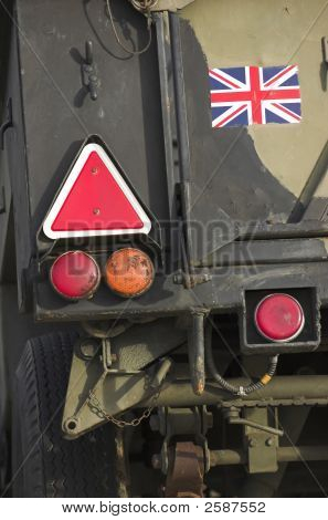 British military trailer - detail (back signalisation lights) stock photo