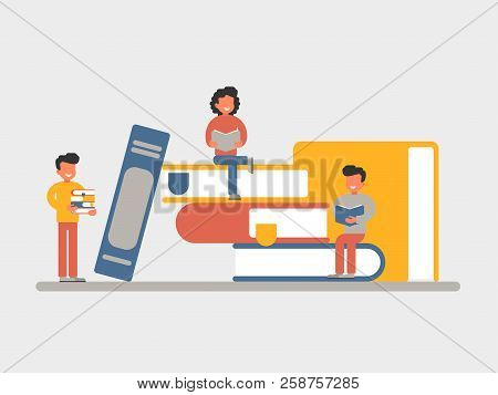 Education concept of a small character reading a book. Smiling people learn and gain knowledge sitting on stacks of books. vector flat  illustration stock photo
