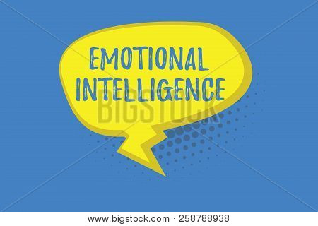 Word writing text Emotional Intelligence. Business concept for Self and Social Awareness Handle relationships well stock photo