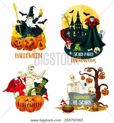 Halloween holiday horror night monsters. Scary pumpkin on tree with bat and spider, fear skeleton skull and villain, mummy and zombie, spooky vampire, demon and wizard symbols stock photo