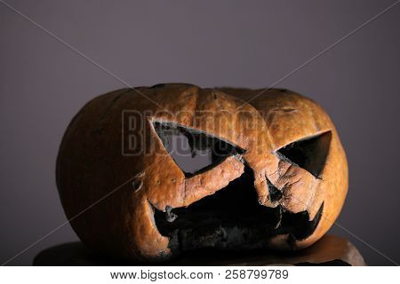 mystery of halloween. halloween pumpkin with evil face share mystery mood. jack o lantern scary pumpkin. I was so scared I BOOed in my pants stock photo