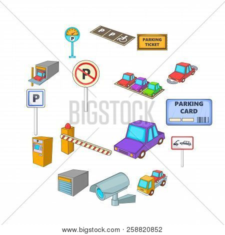 Parking items icons set. Cartoon illustration of 16 parking items icons for web stock photo