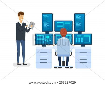 Server room, equipping network administrator workplace, monitoring database, working with financial institution software, employee discussing question with colleague man at work. Vector illustration. stock photo