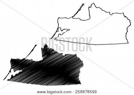 Kaliningrad Oblast (Russia, Subjects of the Russian Federation, Oblasts of Russia) map vector illustration, scribble sketch Kaliningrad Region map stock photo