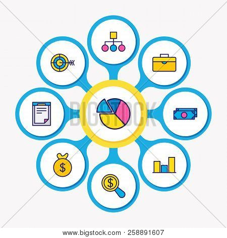 Vector illustration of 9 business icons colored line. Editable set of bar chart, money bag, structure and other icon elements. stock photo