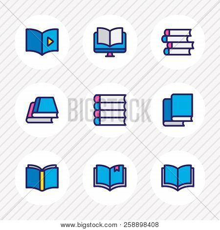 illustration of 9 book reading icons colored line. Editable set of schoolbook, library, audio book and other icon elements. stock photo