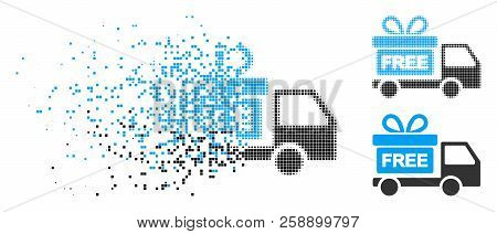 Gift delivery car icon in fractured, dotted halftone and whole versions. Pieces are grouped into vector disappearing gift delivery car icon. Disappearing effect uses square particles. stock photo