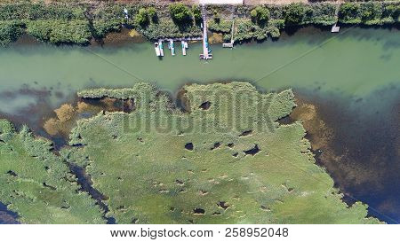 aerial view. pond with boats and ponds, in summer, view from above. stock photo