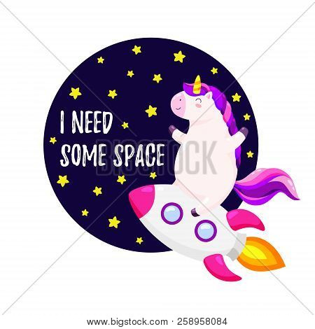 Cute vector illustration with unicorn astronaut. Template for design of T-shirt, postcard, banner stock photo