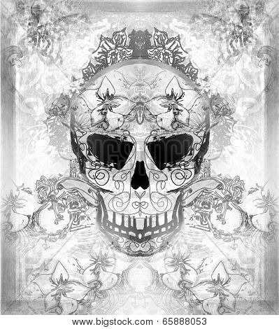 Day Of The Dead, Skull With Floral Ornament-Lg Fridge Magnet Skin (size 36x65)