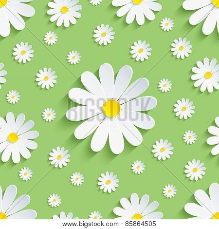 Spring Green Seamless Pattern With White Chamomile