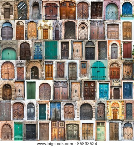 photos of doors and windows of the old districts of Europe-Lg Fridge Magnet Skin (size 36x65)