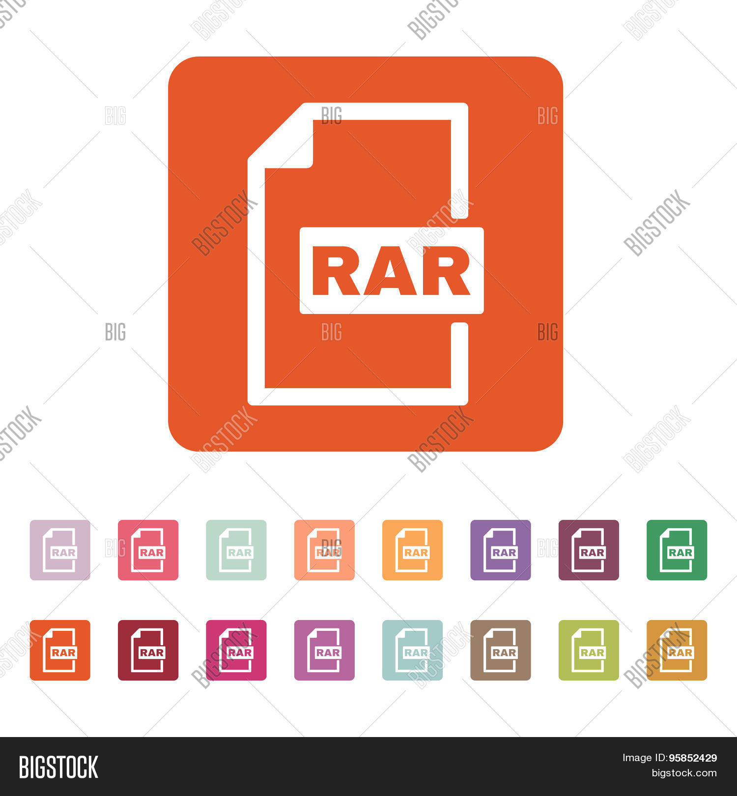 The RAR file icon. Archive compressed symbol. Flat Vector illustration. Button Set