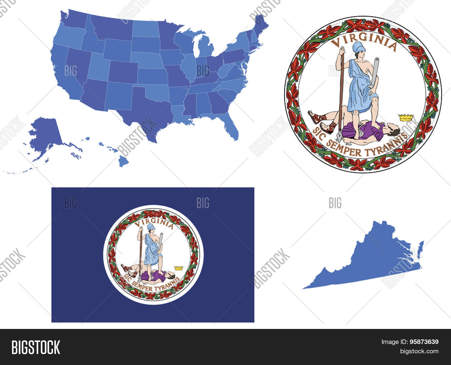 Vector Illustration Of Virginia State Contains High Detailed