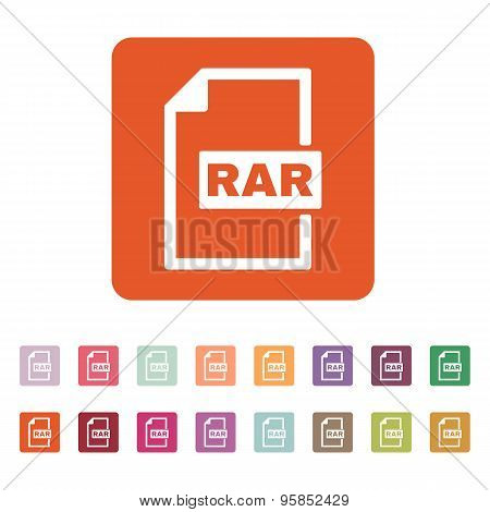 The RAR file icon. Archive compressed symbol. Flat Vector illustration. Button Set stock photo