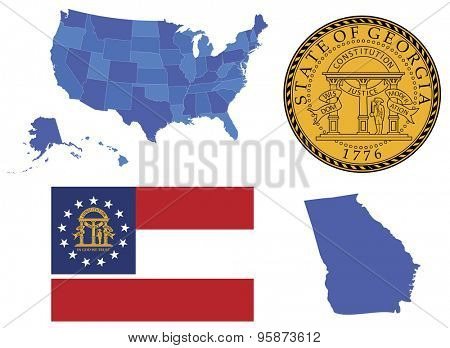Vector Illustration of state Georgia,contains: High detailed map of USA High detailed flag of state