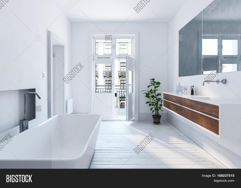 Modern spacious white urban bathroom interior with long mirror, wall ...