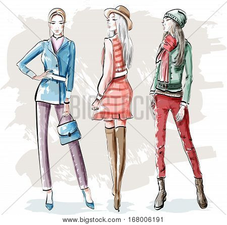 Hand drawn fashion young women. Stylish graphic girls set. Sketch. Vector illustration. stock photo