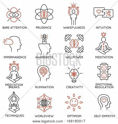 Vector set of 16 linear icons related to mindfulness awareness consciousness and mental conditions. Mono line pictograms and infographics design elements - part 2 stock photo