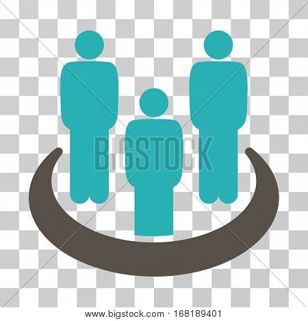 Social Group icon. Vector illustration style is flat iconic bicolor symbol grey and cyan colors transparent background. Designed for web and software interfaces.