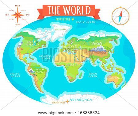 The World geographical map. Names of continents, oceans. North and South America, Europe, Asia, Australia, Africa, Antarctica. Vector illustration. Pacific Ocean Atlantic Ocean Indian Arctic Ocean stock photo