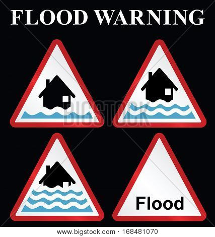 Flood alert flood warning and severe flood warning weather sign collection isolated on black background stock photo