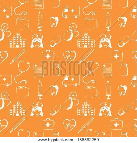 Orange seamless pattern-medical items. This illustration is drawn with a pencil. stock photo