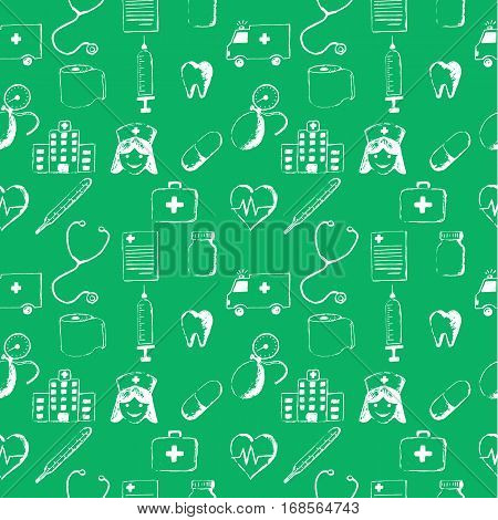 Green seamless pattern-medical items. This illustration is drawn with a pencil. stock photo
