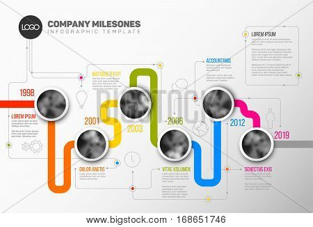 Vector Infographic Company Milestones Timeline Template with circle photo placeholders on colorful line stock photo