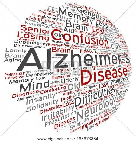 Vector concept conceptual Alzheimer`s disease symptoms abstract word cloud isolated on background metaphor to care, loss, caregiving, aging, resistance, neurology, old, language, motor or resistance stock photo
