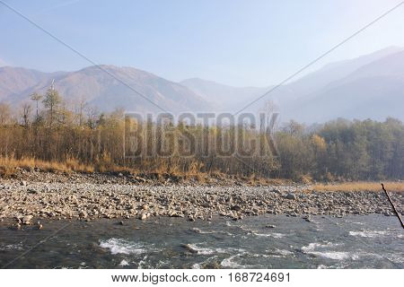 Beautiful Landscape of river in the mountains in Balakot Pakistan stock photo