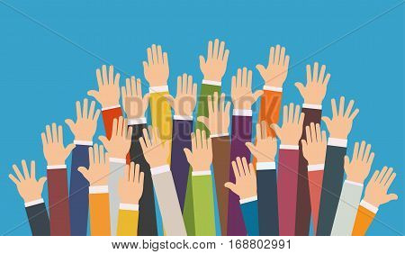 Raised up hands. Volunteering charity, concept of education,  business training. stock photo