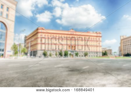 Defocused background of Lubyanka Building KGB former headquarters Moscow Russia. Intentionally blurred post production for bokeh effect stock photo