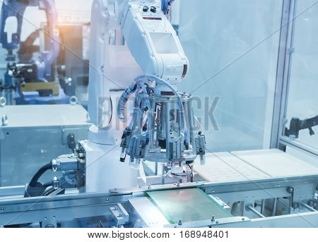 artificial intelligence machine at industrial manufacture factory stock photo