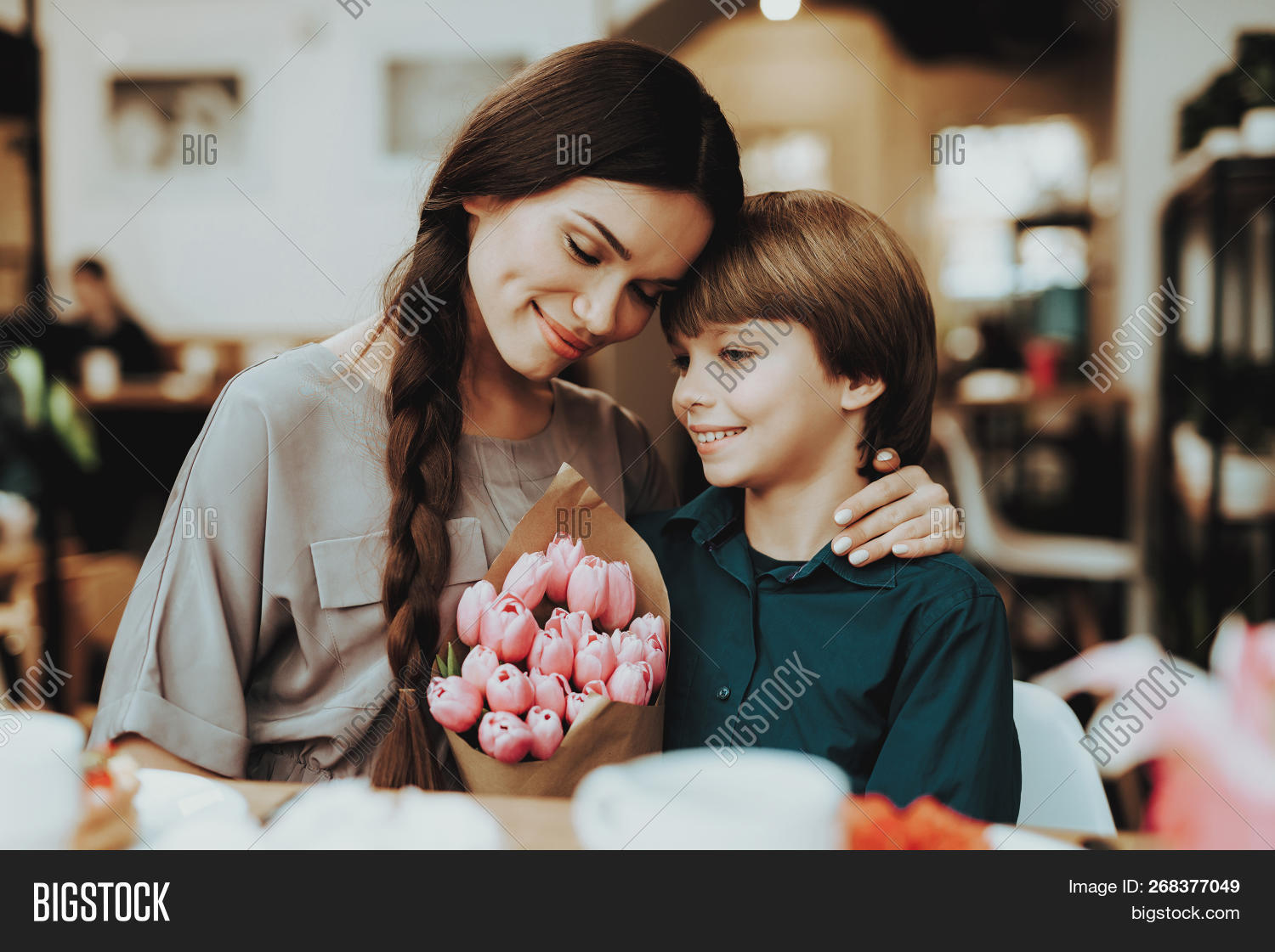 Little Boy And Mother Happy Together. Boy Gift Mother Flowers. Love With Mother And Son. Care Boy Wi