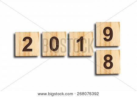 Christmas background. 2018, 2019. Figures composed of cubes. The number 9 changes the number 8. Isolated White background stock photo
