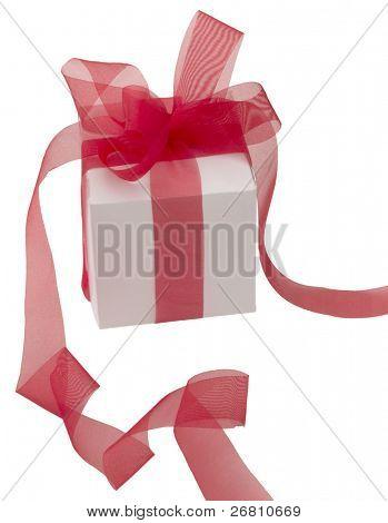 white gift box with transparent ribbon stock photo