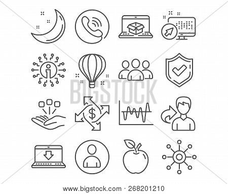 Set of Payment exchange, Consolidation and Internet downloading icons. Online delivery, Group and Stock analysis signs. Air balloon, Avatar and Multichannel symbols. Payment vector stock photo