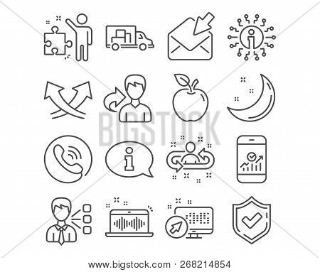 Set of Recruitment, Truck transport and Music making icons. Smartphone statistics, Third party and Information signs. Intersection arrows, Strategy and Open mail. Recruitment vector stock photo