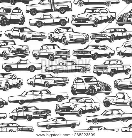 Old car or vintage retro automobile pattern background. Vector seamless design of auto transport limousine or hatchback and pickup truck vehicle or antique collector and veteran auto models stock photo