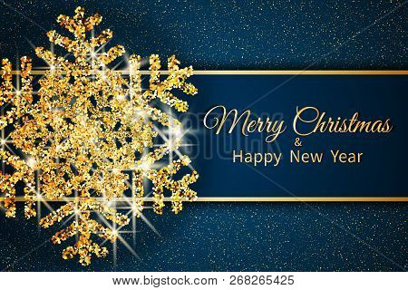 Merry Christmas Greeting Card. Gold Snowflake And Glitter On Dark Blue Background. Merry Christmas A